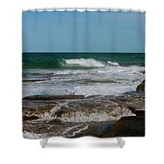 The Rocky Shore Shower Curtain