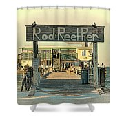 The Rod And Reel Pier Vintage   Shower Curtain