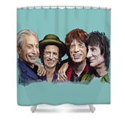The Rolling Tongues Shower Curtain