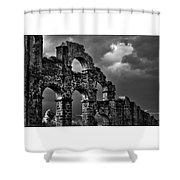 The Roman Aqueduct At Aspendos, Turkey.    Black And White Shower Curtain