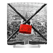 The Romantically Love Inscribed Padlocks On The Eiffel Tower, Pa Shower Curtain