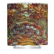 The Rose Path Giverny Shower Curtain by Claude Monet