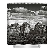 The Rugged Red Rocks In Black And White  Shower Curtain