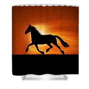 The Running Horse Background Shower Curtain