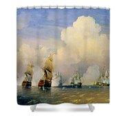 The Russo Swedish Sea War Near Kronstadt In 1790  Shower Curtain by Aleksei Petrovich Bogolyubov