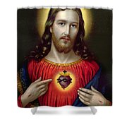 The Sacred Heart Of Jesus Shower Curtain by English School