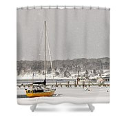 The Sailboat Korovin Is Moored In A Mostly Frozen Stage Harbor I Shower Curtain