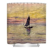 The Sailing Boat Evening Effect Shower Curtain