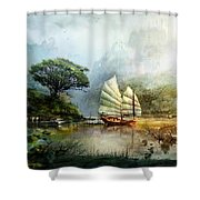 Sailing Boat In The Lake Shower Curtain