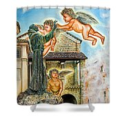 The Saint And The Angels Shower Curtain