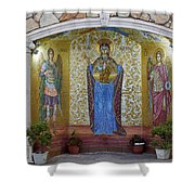 The Saints Are Waiting By The Parking Place Shower Curtain