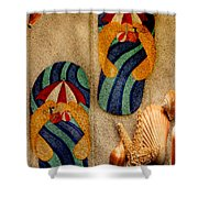 The Sands Of Summer - Flip Flops Shower Curtain