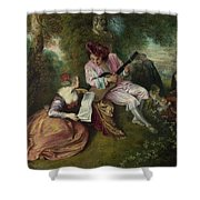The Scale Of Love Shower Curtain by Jean-Antoine Watteau