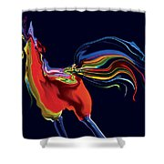 The Scared Rooster Shower Curtain