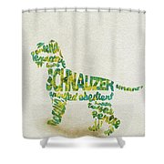 The Schnauzer Dog Watercolor Painting / Typographic Art Shower Curtain