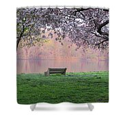 The Schuykill River At Kelly Drive In The Spring Shower Curtain