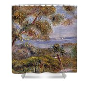The Sea At Cagnes Shower Curtain by Pierre Auguste Renoir