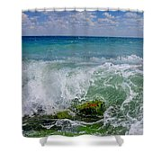 The Sea Breathes Shower Curtain