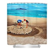 The Sea Surges Up With Laughter Shower Curtain