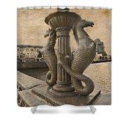 The Seahorses 3 Sepia Shower Curtain