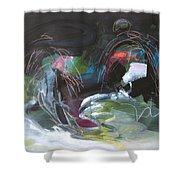 The Secret Of The Shadow Original Abstract Colorful Landscape Painting For Sale Red Blue Green Shower Curtain