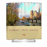 The Seine And Quay Beside Notre Dame, Autumn Cover Art Shower Curtain