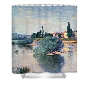 The Seine At Lavacourt Shower Curtain by Claude Monet