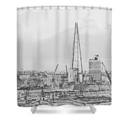 The Shard Outline Poster Bw Shower Curtain