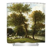 The Shepherd's Break With  His Sheep Shower Curtain