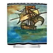 The Ship Plying On The River Shower Curtain
