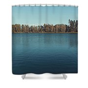 The Shore Of Flathead River Shower Curtain