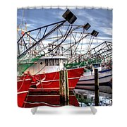 The Shrimpers Salute Shower Curtain