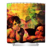 The Sistine Modonna Baby Angels In Abstract Space 20150622 Square Shower Curtain