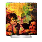 The Sistine Modonna Baby Angels In Abstract Space 20150622 Shower Curtain