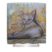 The Sitting Cat Shower Curtain
