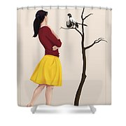The Size Of An Archaeopteryx Perched Shower Curtain