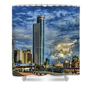 The Skyscraper And Low Clouds Dance Shower Curtain