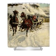 The Sleigh Ride Shower Curtain by JFJ Vesin