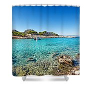 The Small Island Aponisos Near Agistri Island - Greece Shower Curtain