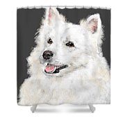 The Smiling Eskie Shower Curtain