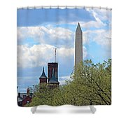 The Smithsonian Castle And Washington Monument In Green Shower Curtain