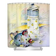 The Smoking Fish Shower Curtain