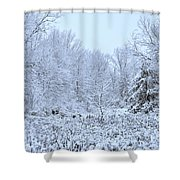 The Snow Falls To The Trees Shower Curtain