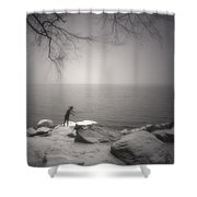 The Snow Gatherer Shower Curtain