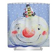 The Snowman's Head Shower Curtain