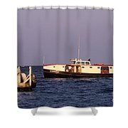 The Sonny S Ferry Docking At Middlebass Island Shower Curtain