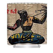 The Spirit Of Detroit Statue Recycled Michigan License Plate Art Homage Shower Curtain
