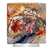 The Splash Of Life 17. Humming-bird And Exotic Flowers Shower Curtain