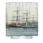 The Square-rigged Australian Clipper Old Kensington Lying On Her Mooring Shower Curtain