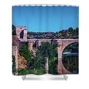 The St. Martin Bridge Over The Tagus River In Toledo Shower Curtain
